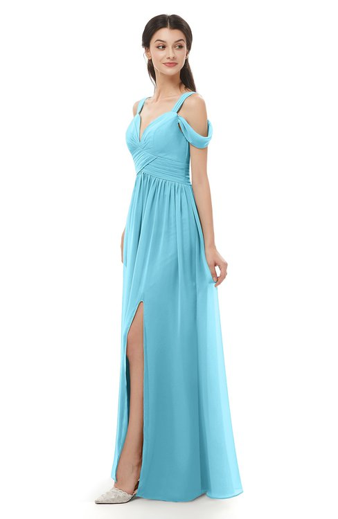 ColsBM Raven Light Blue Bridesmaid Dresses Split-Front Modern Short Sleeve Floor Length Thick Straps A-line