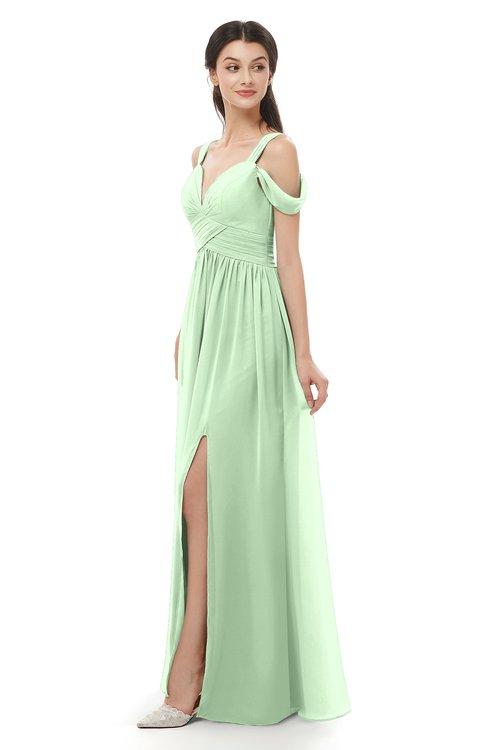 ColsBM Raven Light Green Bridesmaid Dresses Split-Front Modern Short Sleeve Floor Length Thick Straps A-line