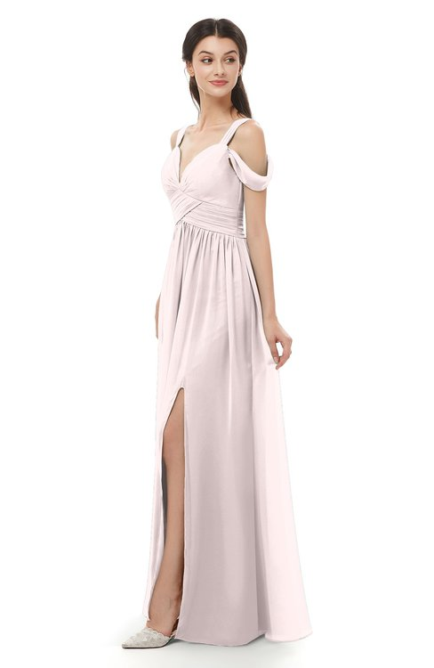 ColsBM Raven Light Pink Bridesmaid Dresses Split-Front Modern Short Sleeve Floor Length Thick Straps A-line