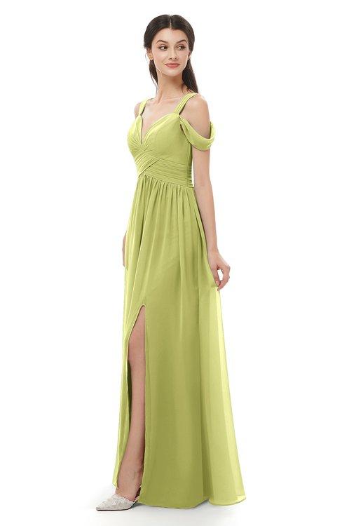 ColsBM Raven Linden Green Bridesmaid Dresses Split-Front Modern Short Sleeve Floor Length Thick Straps A-line