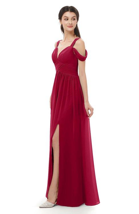 ColsBM Raven Maroon Bridesmaid Dresses Split-Front Modern Short Sleeve Floor Length Thick Straps A-line