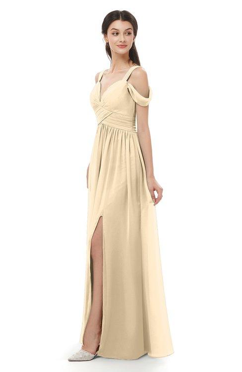 ColsBM Raven Marzipan Bridesmaid Dresses Split-Front Modern Short Sleeve Floor Length Thick Straps A-line