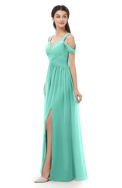 ColsBM Raven Mint Green Bridesmaid Dresses Split-Front Modern Short Sleeve Floor Length Thick Straps A-line
