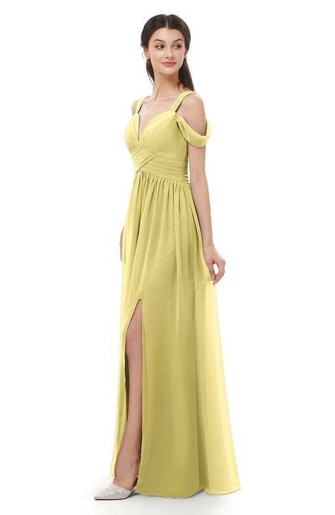 ColsBM Raven Misted Yellow Bridesmaid Dresses Split-Front Modern Short Sleeve Floor Length Thick Straps A-line