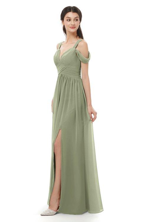 ColsBM Raven Moss Green Bridesmaid Dresses Split-Front Modern Short Sleeve Floor Length Thick Straps A-line