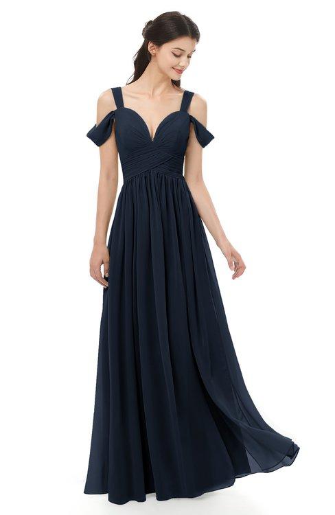 52878bf4fa4 ... ColsBM Raven Navy Blue Bridesmaid Dresses Split-Front Modern Short  Sleeve Floor Length Thick Straps ...