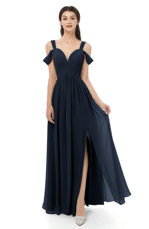2e8de121c25 ... ColsBM Raven Navy Blue Bridesmaid Dresses Split-Front Modern Short  Sleeve Floor Length Thick Straps