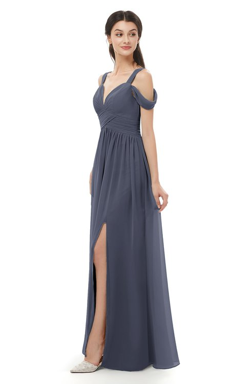 ColsBM Raven Nightshadow Blue Bridesmaid Dresses Split-Front Modern Short Sleeve Floor Length Thick Straps A-line