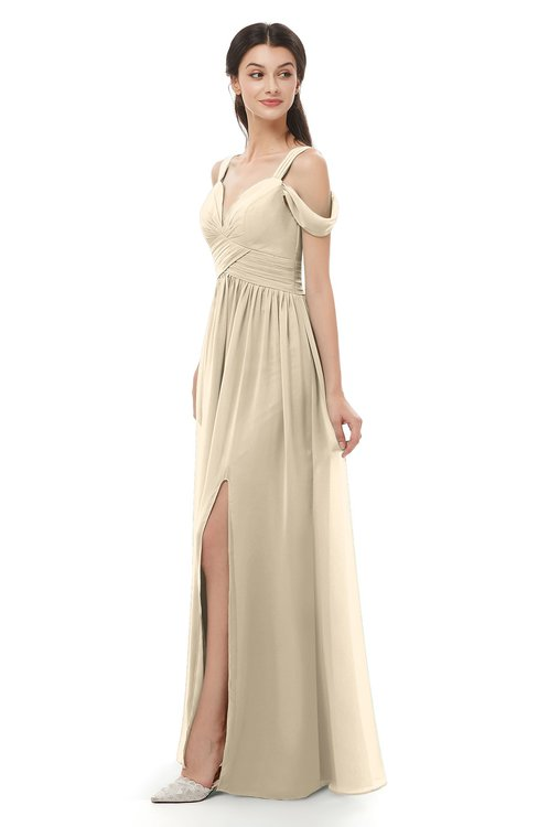 ColsBM Raven Novelle Peach Bridesmaid Dresses Split-Front Modern Short Sleeve Floor Length Thick Straps A-line