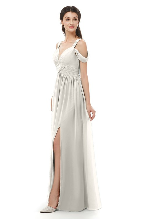 ColsBM Raven Off White Bridesmaid Dresses Split-Front Modern Short Sleeve Floor Length Thick Straps A-line