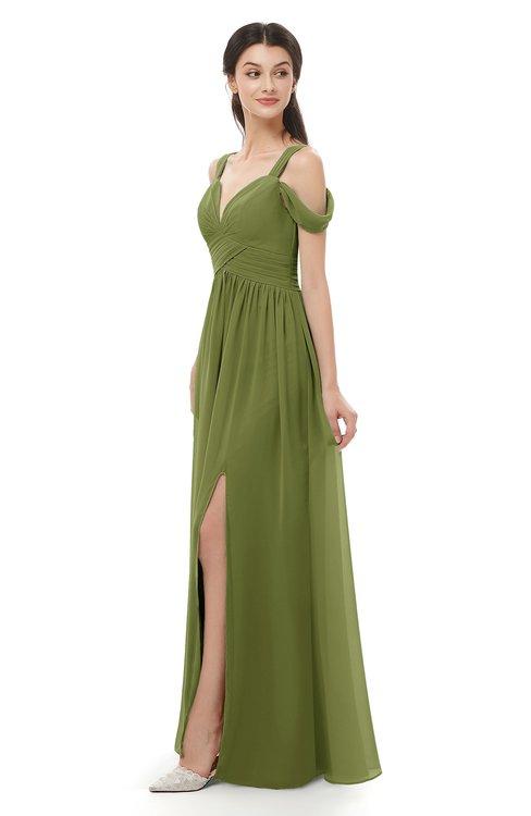 ColsBM Raven Olive Green Bridesmaid Dresses Split-Front Modern Short Sleeve Floor Length Thick Straps A-line