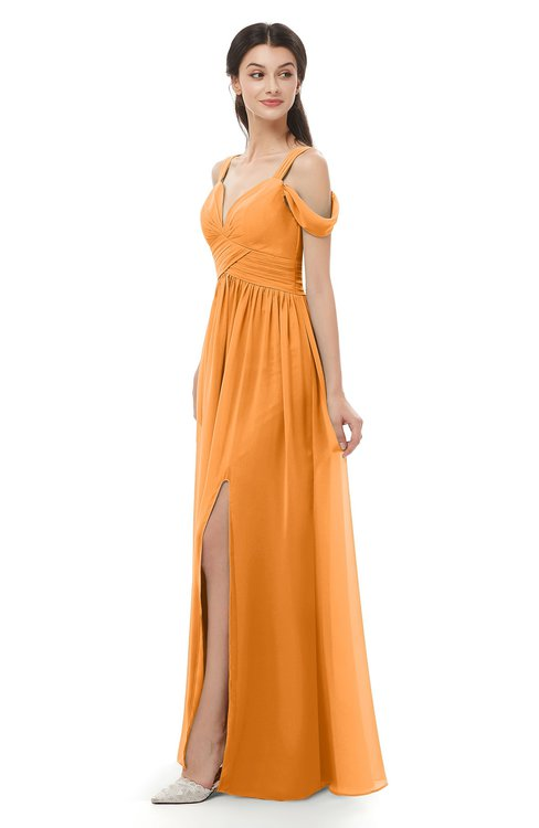 ColsBM Raven Orange Bridesmaid Dresses Split-Front Modern Short Sleeve Floor Length Thick Straps A-line
