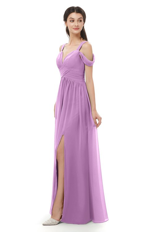ColsBM Raven Orchid Bridesmaid Dresses Split-Front Modern Short Sleeve Floor Length Thick Straps A-line