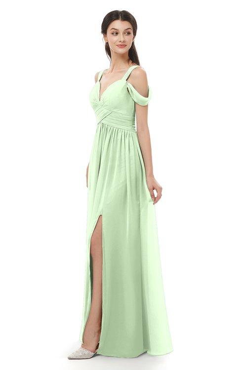 ColsBM Raven Pale Green Bridesmaid Dresses Split-Front Modern Short Sleeve Floor Length Thick Straps A-line