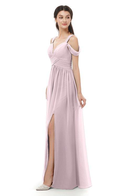 ColsBM Raven Pale Lilac Bridesmaid Dresses Split-Front Modern Short Sleeve Floor Length Thick Straps A-line