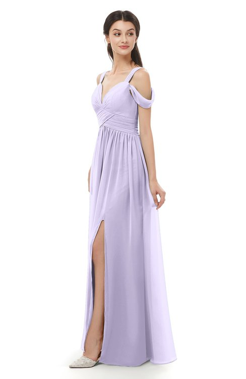 ColsBM Raven Pastel Lilac Bridesmaid Dresses Split-Front Modern Short Sleeve Floor Length Thick Straps A-line
