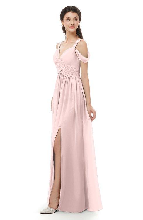 ColsBM Raven Pastel Pink Bridesmaid Dresses Split-Front Modern Short Sleeve Floor Length Thick Straps A-line