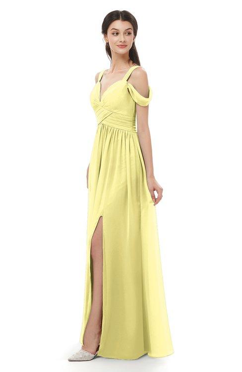 ColsBM Raven Pastel Yellow Bridesmaid Dresses Split-Front Modern Short Sleeve Floor Length Thick Straps A-line