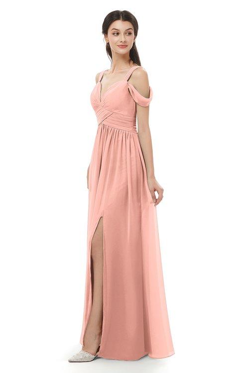 ColsBM Raven Peach Bridesmaid Dresses Split-Front Modern Short Sleeve Floor Length Thick Straps A-line