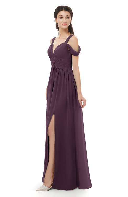 ColsBM Raven Plum Bridesmaid Dresses Split-Front Modern Short Sleeve Floor Length Thick Straps A-line