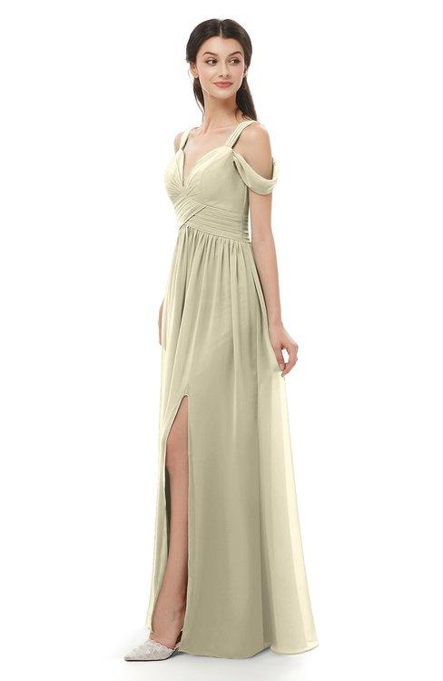 ColsBM Raven Putty Bridesmaid Dresses Split-Front Modern Short Sleeve Floor Length Thick Straps A-line