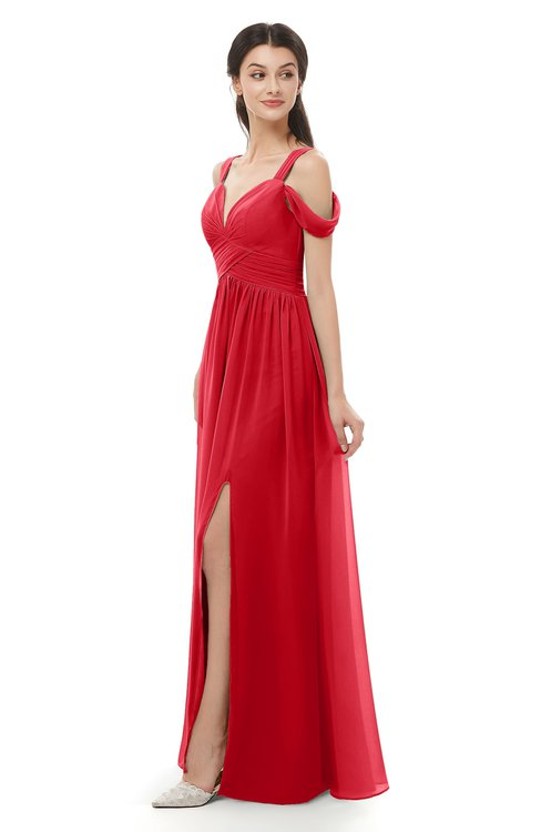 ColsBM Raven Red Bridesmaid Dresses Split-Front Modern Short Sleeve Floor Length Thick Straps A-line