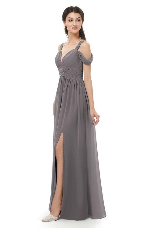 ColsBM Raven Ridge Grey Bridesmaid Dresses Split-Front Modern Short Sleeve Floor Length Thick Straps A-line