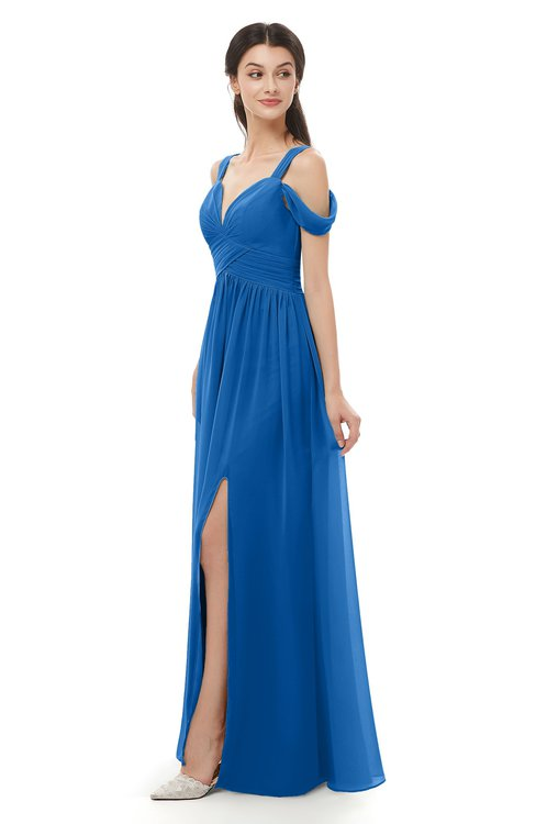 ColsBM Raven Royal Blue Bridesmaid Dresses Split-Front Modern Short Sleeve Floor Length Thick Straps A-line
