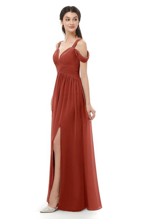 ColsBM Raven Rust Bridesmaid Dresses Split-Front Modern Short Sleeve Floor Length Thick Straps A-line