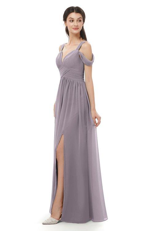 ColsBM Raven Sea Fog Bridesmaid Dresses Split-Front Modern Short Sleeve Floor Length Thick Straps A-line