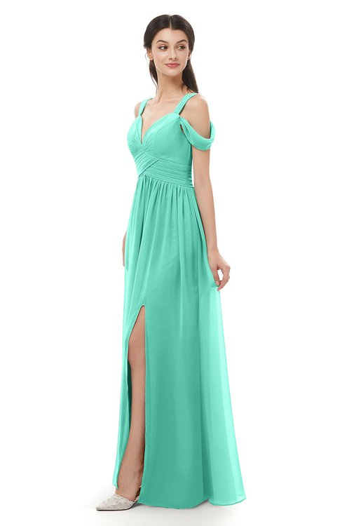 ColsBM Raven Seafoam Green Bridesmaid Dresses Split-Front Modern Short Sleeve Floor Length Thick Straps A-line