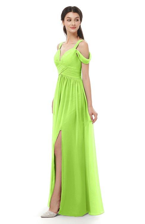 ColsBM Raven Sharp Green Bridesmaid Dresses Split-Front Modern Short Sleeve Floor Length Thick Straps A-line