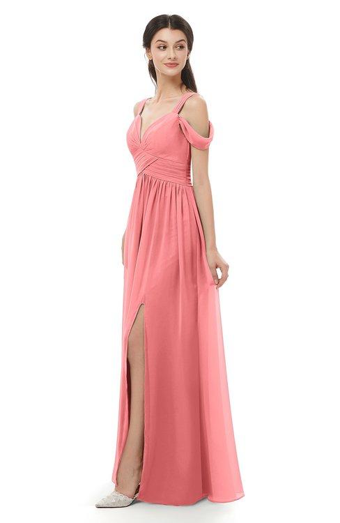 ColsBM Raven Shell Pink Bridesmaid Dresses Split-Front Modern Short Sleeve Floor Length Thick Straps A-line