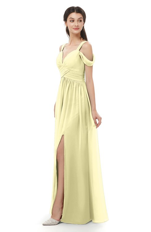 ColsBM Raven Soft Yellow Bridesmaid Dresses Split-Front Modern Short Sleeve Floor Length Thick Straps A-line