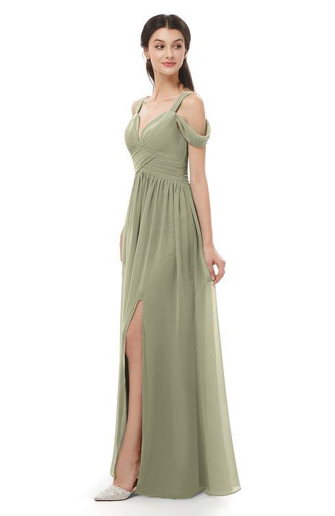 ColsBM Raven Sponge Bridesmaid Dresses Split-Front Modern Short Sleeve Floor Length Thick Straps A-line