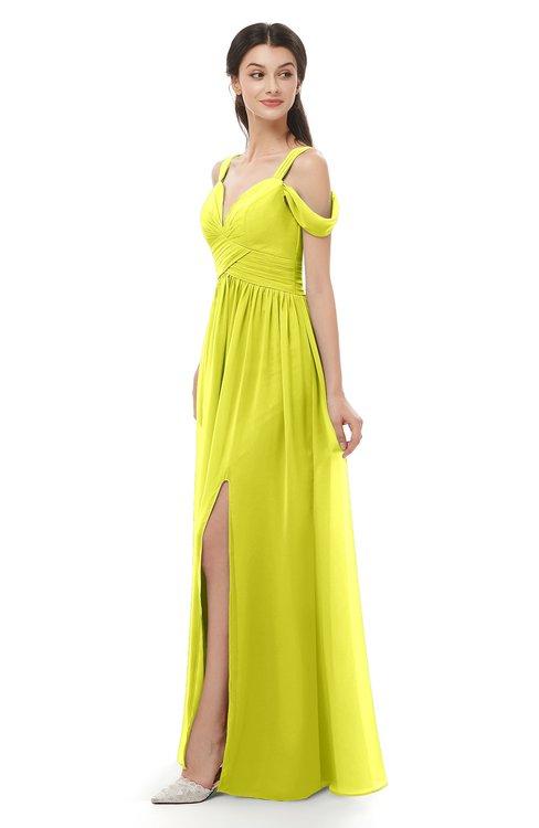 ColsBM Raven Sulphur Spring Bridesmaid Dresses Split-Front Modern Short Sleeve Floor Length Thick Straps A-line