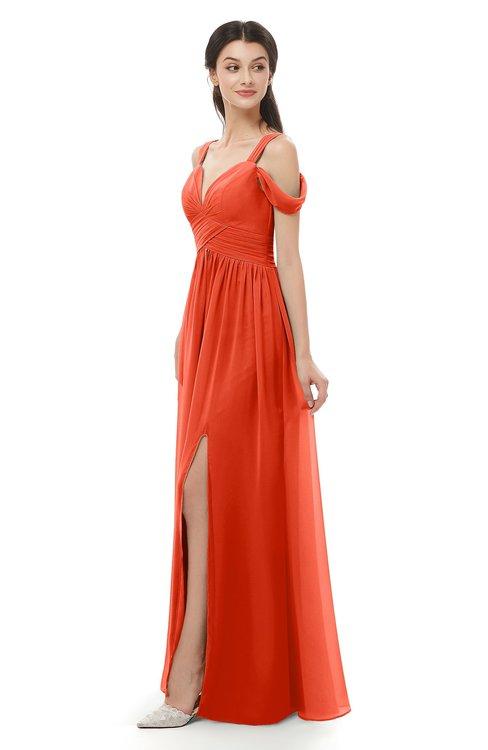 ColsBM Raven Tangerine Tango Bridesmaid Dresses Split-Front Modern Short Sleeve Floor Length Thick Straps A-line