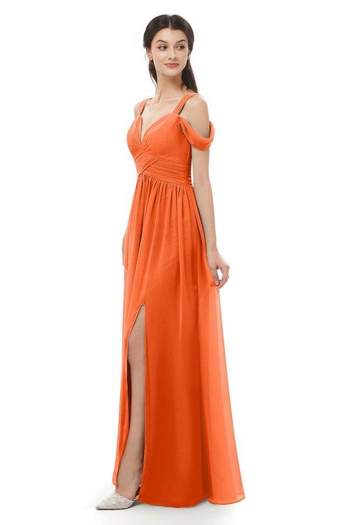 ColsBM Raven Tangerine Bridesmaid Dresses Split-Front Modern Short Sleeve Floor Length Thick Straps A-line