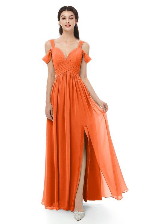 ac08de47c47 ... ColsBM Raven Tangerine Bridesmaid Dresses Split-Front Modern Short  Sleeve Floor Length Thick Straps A