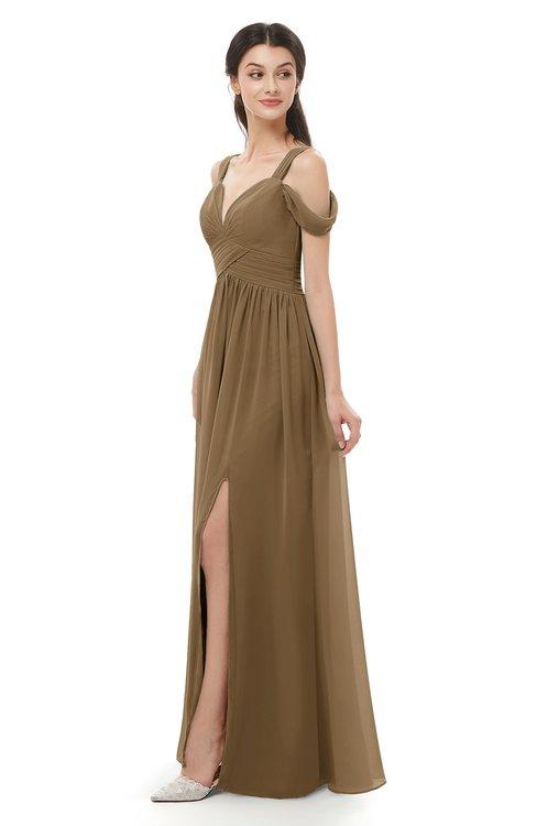 ColsBM Raven Truffle Bridesmaid Dresses Split-Front Modern Short Sleeve Floor Length Thick Straps A-line