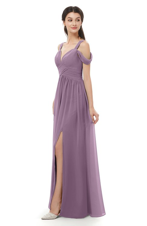 ColsBM Raven Valerian Bridesmaid Dresses Split-Front Modern Short Sleeve Floor Length Thick Straps A-line