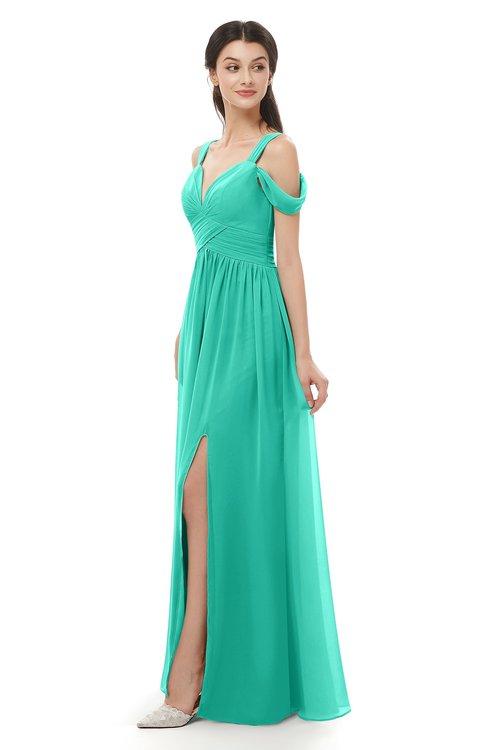 ColsBM Raven Viridian Green Bridesmaid Dresses Split-Front Modern Short Sleeve Floor Length Thick Straps A-line