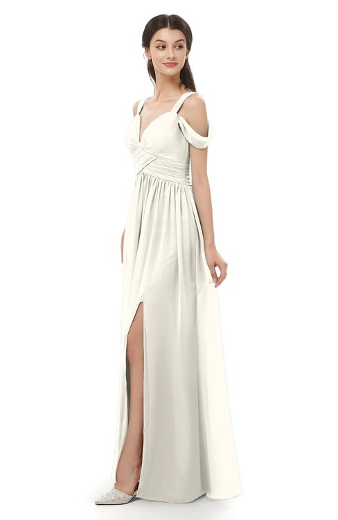 ColsBM Raven Whisper White Bridesmaid Dresses Split-Front Modern Short Sleeve Floor Length Thick Straps A-line