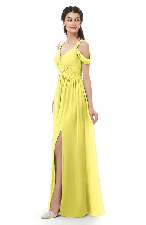 ColsBM Raven Yellow Iris Bridesmaid Dresses Split-Front Modern Short Sleeve Floor Length Thick Straps A-line