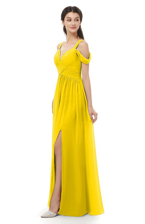 ColsBM Raven Yellow Bridesmaid Dresses Split-Front Modern Short Sleeve Floor Length Thick Straps A-line