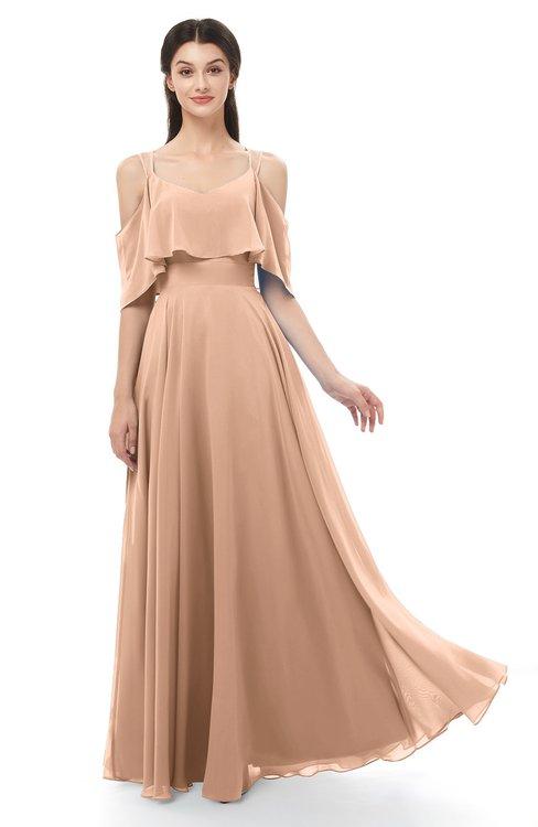 ColsBM Jamie Almost Apricot Bridesmaid Dresses Floor Length Pleated V-neck Half Backless A-line Modern