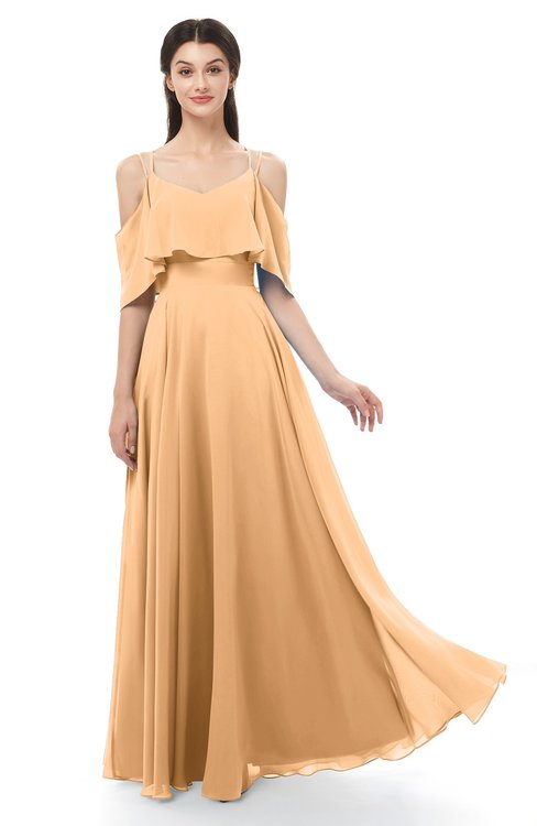 ColsBM Jamie Apricot Bridesmaid Dresses Floor Length Pleated V-neck Half Backless A-line Modern
