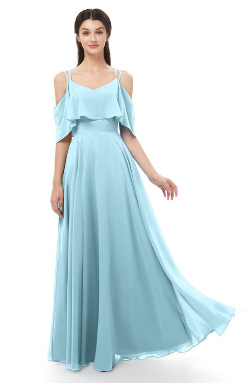 ColsBM Jamie Aqua Bridesmaid Dresses Floor Length Pleated V-neck Half Backless A-line Modern