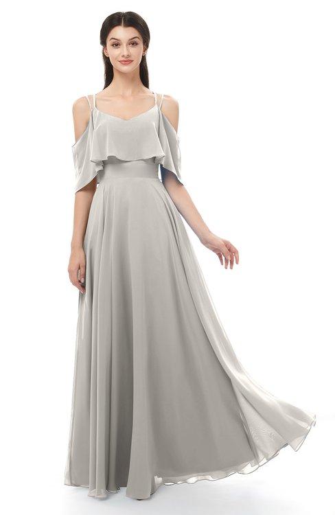 ColsBM Jamie Ashes Of Roses Bridesmaid Dresses Floor Length Pleated V-neck Half Backless A-line Modern