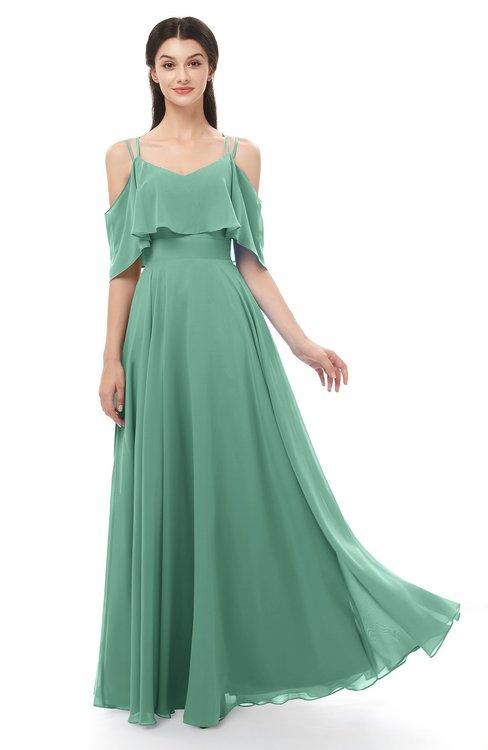 ColsBM Jamie Beryl Green Bridesmaid Dresses Floor Length Pleated V-neck Half Backless A-line Modern